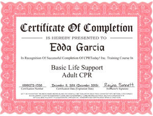 Basic Life Support CPR Adult Certificate